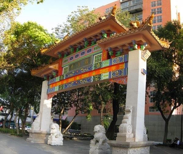Monumentos do Barrio Chino Chinatown na Cidade do México