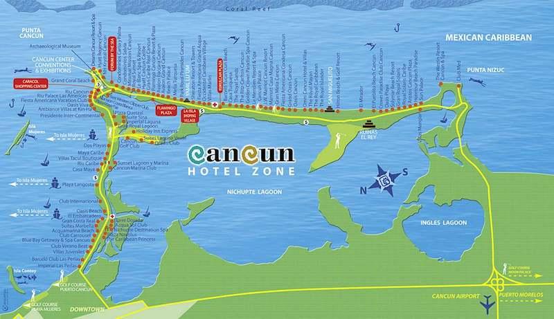 Mapa da Zona Hotelera em Cancún