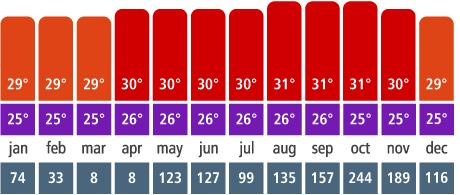 Gráfico de temperatura em San Andrés